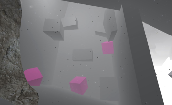 "Grey box prototype for the ""chimney"". Pink boxes as rocks the hook can be attached to, grey boxes as platforms"